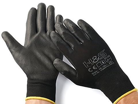 12 Paar Arbeits-Handschuhe von ISC H&S, Nylon, PU-beschichtet | verfügbar in S small (7), M medium (8), L large (9), XL x-large (10), XXL xx.large (11) | nahtlos, vielseitig , schwarz, Größe 10 (XL)