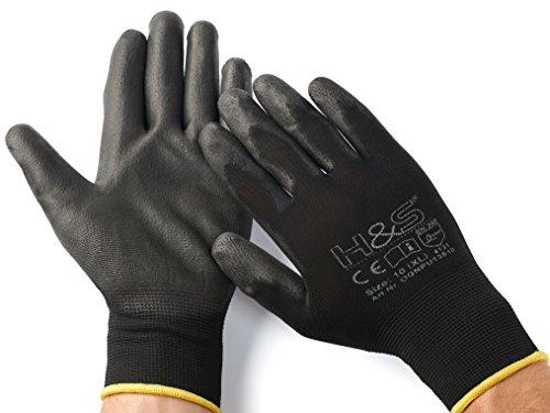 12 Paar Arbeits-Handschuhe von ISC H&S, Nylon, PU-beschichtet | verfügbar in S small (7), M medium (8), L large (9), XL x-large (10), XXL xx.large (11) | nahtlos, vielseitig , schwarz, Größe 8 (M)