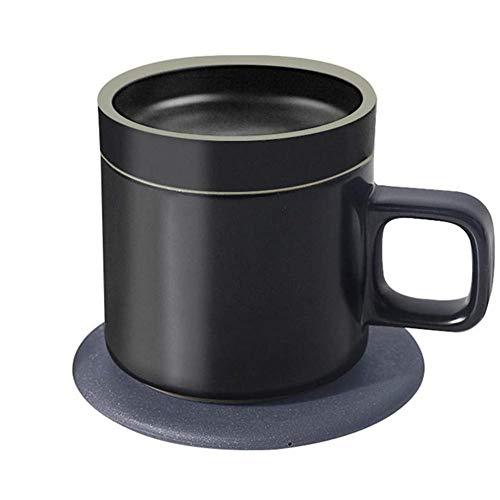 XMYL Kabelloses Ladegerät Isolierung Tasse 2 in 1 Intelligent 55 ° Induktionsladegeräte Mug Becher für Familien, Schulen, Büros,für Damen Warmes Geschenk,Black