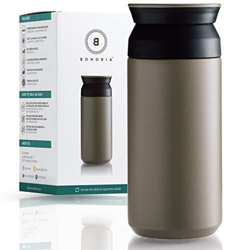 BOHORIA® Premium Edelstahl Kaffee-to-Go-Becher - Isolierbecher - Thermo-Becher - Doppelwandig & Vakuumisoliert - 360 ml - Reise-Becher Kaffee und Tee zum Mitnehmen - Autobecher Travel Mug (Khaki)