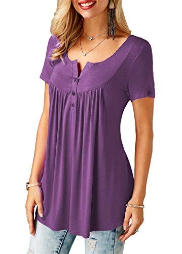 Ärmel Rüschen Bluse (KISSMODA Lila Shirts für Frauen Tunika Tops Kurze Bluse Ärmel V-Ausschnitt Klein)
