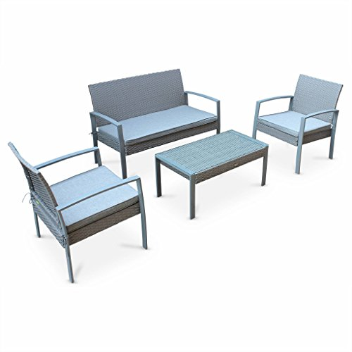 Alice's Garden - Salon de jardin en résine tressée - Vicenzo - Gris clair, Coussins gris - 4 places - 1 canapé, 2 fauteuils, une table basse