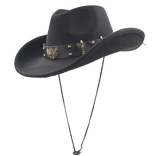 BAIJIAXIUSHANG-HAT Herren Cowboyhut Frauen Männer Western Cowboy-Hut mit aufgerollten Rand Vati Sombrero Caps von Original Design MeMens Coole Western Cowboymütze (Farbe : Schwarz, Größe : 56-58CM)