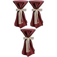 Sensalux, 3 Stehtischüberwürfe (nicht genäht) abwischbar - (Farbe nach Wahl), Überwurf bordeaux Schleifenband creme, Tischdurchmesser 60-70 cm, die preisgünstige Alternative zur Husse