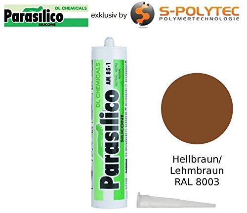 Profi Silikon Parasilico 310ml Kartusche Dichtstoff Sanitär, Naturstein, Marmor, Granit, Bausilikon (1x Kartusche 310ml, hellbraun / Lehmbraun RAL 8003) -