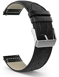 Banda de reloj 20mm, happytop piel pulsera correa de muñeca relojes Reemplazo para Samsung Galaxy Gear S2Classic SM-R732, hombre, negro, S