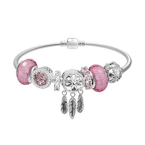 CT Jewelry Pulseras Brillantes Abalorios United Atrapasueños Oro Blanco 14K Moda Charms Mujer Regalos, Rosa