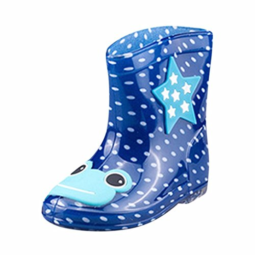tiefel Jungen Mädchen Regenstiefel Kurzschaft Waterproof Schuhe (25, Dunkelblau) (Silber Kleinkind Stiefel)