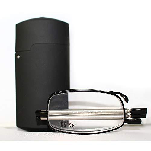 Tragbare 1 Paar kompakte zusammenklappbare Lesebrille mit Mini Flip Top Tragetasche für Mode für Männer und Frauen Rotations-Brille + 1,0 / + 1,5 / + 2,0 / + 2,5 / + 3,0 / + 3,5 / + 4,0,Black,+1.50