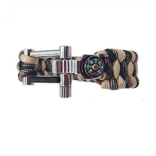 Zhuhaimei,Regenschirm Seil Armband Multifunktionale U-shanped Schäkel Legierung Verstellbare Schnalle Öffner Outdoor-Armband(Color:Jungle Camouflage,Size:1PC)