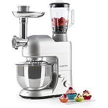 Klarstein Lucia Argentea • Robot de Cocina Universal • Batidora • Amasadora • 1200 W • 5 L • Batido planetario • Picadora • Cabezal para Pasta • Recipiente ...