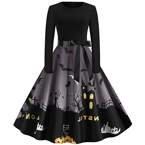 Kobay Deguisement Halloween Robe de Soirée Vintage Femmes Dentelle Imprimé Citrouille Robe Femmes Manches CourtesHalloween Costumes