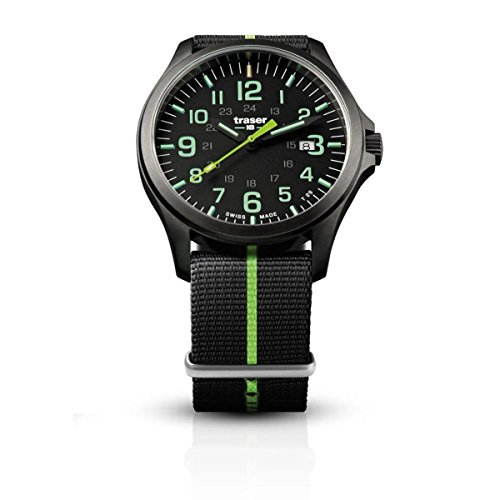 traser H3 Mens Watch P67 Officer Pro Gun Metal Black/Green 107426