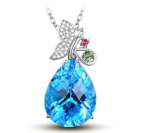 AnazoZ Echtschmuck 18 Karat 750 Rosegold Damen Halskette 20CT 20 CT Natürlicher Wassertropfen Topas Schmetterling Anhänger Halsketten Blau Schmuck (Katze Topas Blauer)