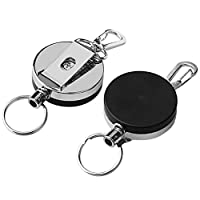 Borte 2pcs Retractable Key Chain, Retractable Metal Steel Recoil Ring 1.57In Heavy Duty Key Ring Silver
