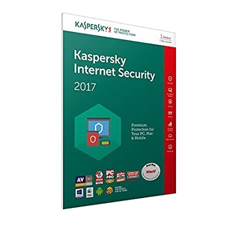 Kaspersky Internet Security 2017 | 1 Device | 1 Year | PC/Mac/Android | Frustration Free Packaging
