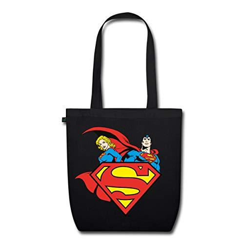 Spreadshirt DC Comics Originals Supergirl Und Superman Bio-Stoffbeutel, Schwarz