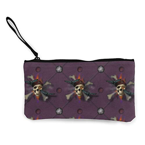 Halloween Multifunctional Portable Canvas Coin Purse Phone Pouch Cosmetic Bag,Zippered Wristlets Bag