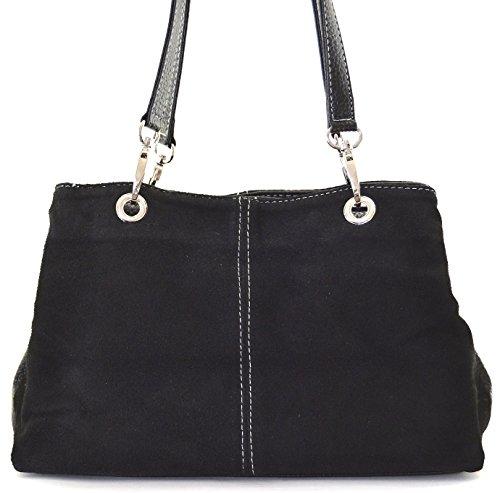 OH MY BAG - Leder Damen Handtasche - Tragbar als HANDTASCHE UND SCHULTER – Modell INGA - Nubuck Leder Schwarz