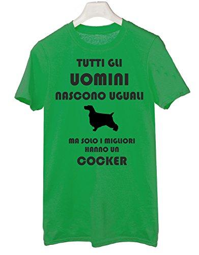 Tshirt Tutti gli uomini nascono uguali ma solo i migliori hanno un cocker - cani - dog - humor - Tutte le taglie Verde