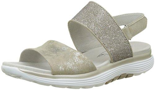 Gabor Damen Rollingsoft Offene Sandalen mit Keilabsatz Braun (visone/argento 93)