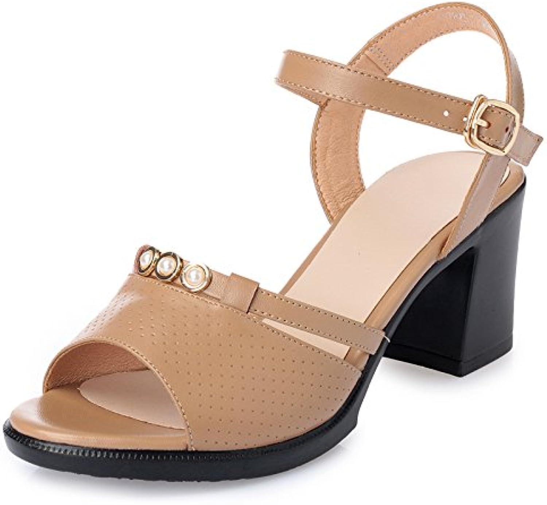 GTVERNH-Sandalias De Verano 7 Cm De Tacon Rough Heels Edad Media Sandalias De Cuero Skid Bromeando Mami Zapatos...
