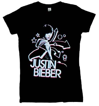 Justin Bieber - 3D Girls S/S T-Shirt In Grey, Size: X-Large, Color: Grey