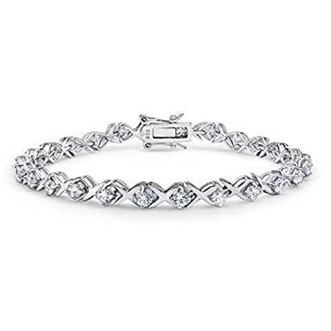 Bling Jewelry XOXO Hugs Kisses 925 Sterling Silver CZ Tennis