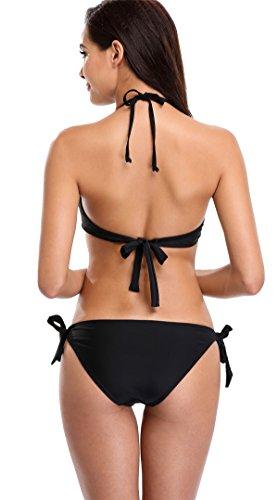 Attraco Damen Bikini Set Mit Bügel Schalen Cups Triangel Bademode Push Up Bikini Schwarz