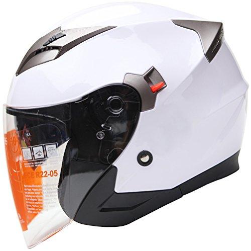 Jethelme Rollerhelm Sturzhelm Chopper Helm - YEMA YM-627 Motorradhelm ECE mit Doppelvisier Sonnenblende für Damen Herren Erwachsene-Weiß-S