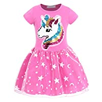 AmzBarley Girls Unicorn Tulle Tutu Fancy Party Dress up Kids Long/Short Sleeves Cotton Princess Dresses Birthday Halloween Costume Holiday Outfits