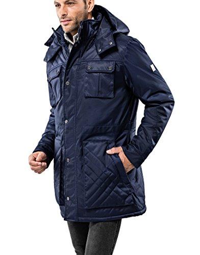 Vincenzo Boretti Herren Winter-Jacke dick warm gefüttert Parka kuschelig sportlich elegant Winter-Mantel slim-fit tailliert lang für Outdoor Business mit Steh-Kragen und Kapuze Dunkelblau