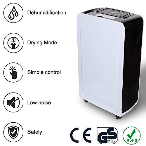 Vingo deumidificatore portatile compatto 12l/24h fino a 120 m³ (~50 m²) asciugatura del bucato ideale per ufficio, bagno, casa, soggiorno, dormitorio, studio ecc