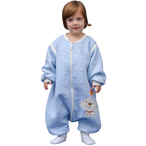 Schläfsack baby langarm winter kinderSchlafsack,Hund Muster Baby Schlafsack mit Füßen Baumwolle Junge Mädchen unisex ganzjahres Schlafanzug. ((L:100cm 3-4Jahre), Blau)