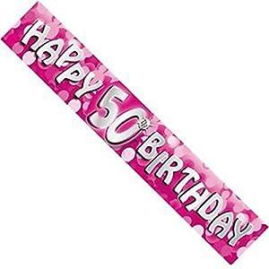 Gifts 4 All Occasions Limited SHATCHI-121 - Pancarta holográfica de 12 pies de largo, color rosa