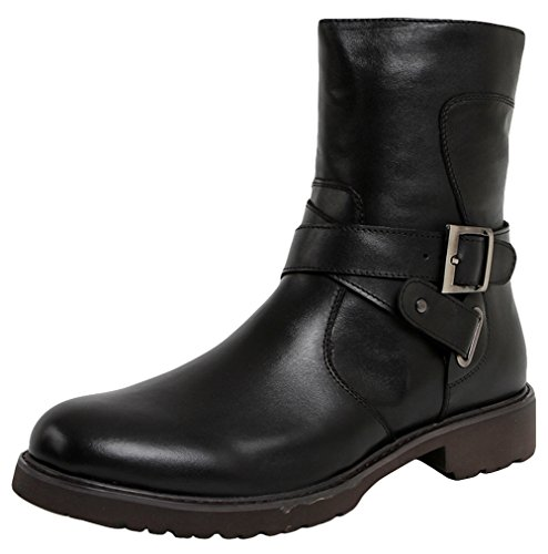 SERDAOUMANI boots de Martin hombre tête ronde Cuir de bœuf mariage et travail Noir