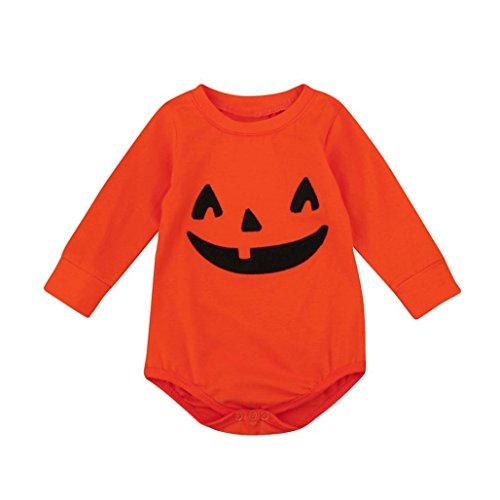 Säugling Unisex Halloween Kürbis Lange Hülse Spielanzug Baby Jungen Mädchen Overall Kleider Hirolan Niedlich und Bequem Baby Kleider (Orange, 90cm) (Niedliche Diy Baby Kostüme)