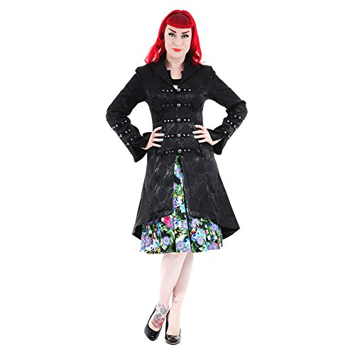 H&R London Mantel EMBROIDERY COAT 0303 Black
