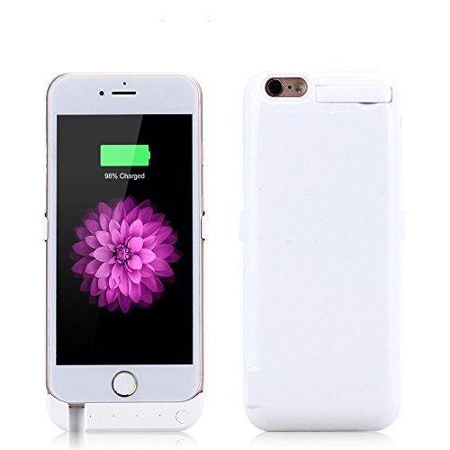 iPhone 6 / iPhone 6S Coque Batterie Étui 10000mAh Ultra Mince External Rechargeable de Chargeur Portable de Secours Externe Chargeur Housse Power Case Prolonger de Protection pour iPhone 6 / iPhone 6S blanc