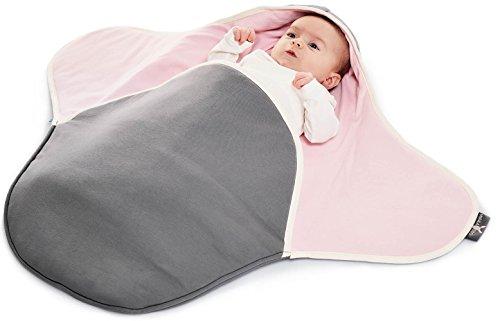Wallaboo Einschlagdecke Coco, Sehr praktische und Kuschelweiche Babydecke, 100% Baumwolle, 90 x 70 cm, Farbe: green pink (Befestigt Mit Gefüttert Kapuze)
