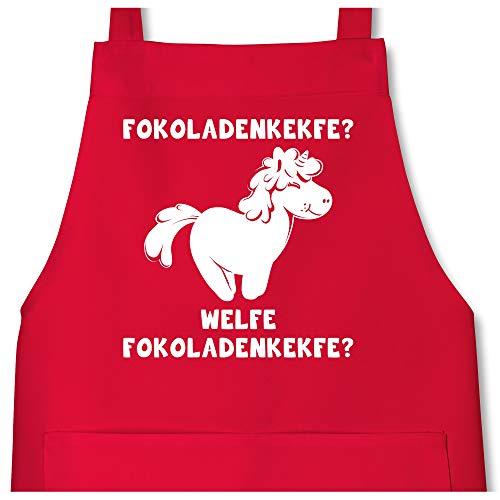Shirtracer Schürze mit Motiv - Fokoladenkekfe Einhorn - 80 cm x 73 cm (H x B) - Rot - X967 - Schürze und Kochschürze für Erwachsene