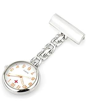 Ellemka JCM-2105 - Schwesternuhr Clip zum Anstecken FOB Kittel Krankenschwester Pflege-r Quarz Puls-Uhr Taschen...
