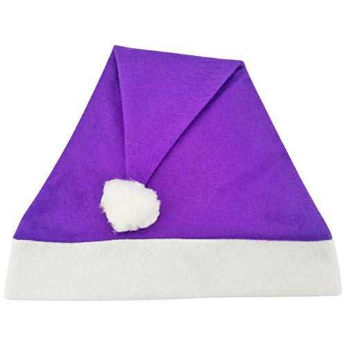 Lila Weihnachtsmütze Schlicht Uni Einfach Herren und Damen Nikolausmütze Mützen (Lila Santa Kostüm)
