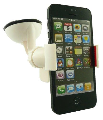 Emartbuy® Bianca Universale Artiglio Clip 360 Gradi Cruscotto / Parabrezza Del Supporto DellAutomobile Di Aspirazione Del Supporto Adatto Per Apple Iphone 5 5S