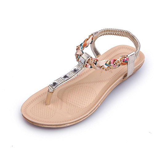 Ouneed® Damen Sandalen ,Damen Sommer Böhmen Elegant Perlen Sommer Blume flache Flip Flops Damen schuhe Sandalen (36, Rosa)