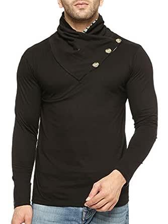 GRITSTONES Full Sleeve Shawl Collar T Shirt GSFSTSHT1318BLK_L