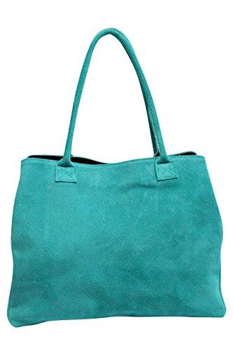 AMBRA Moda Damen Wildleder Handtasche Schultertasche Shopper WL810 (Türkis)