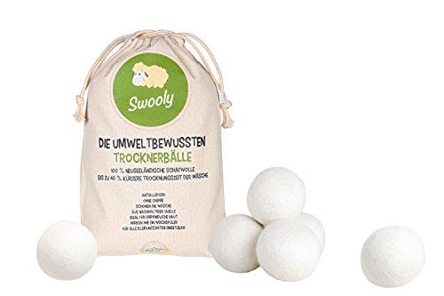 Original Swooly natürliche Trockner-Bälle (6er Pack) für Wäschetrockner - 100% Premium-Schafwolle aus Neuseeland - die umweltschonende Alternative zum chemischen Weichspüler - Trocknerkugeln