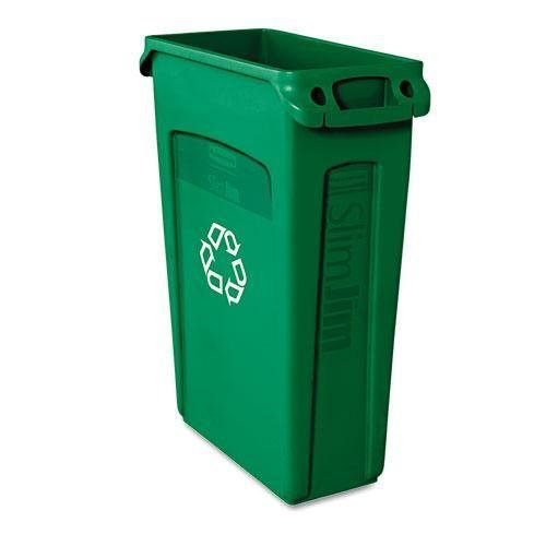 slim-jim-recycling-container-w-venting-channels-plastic-23gal-green-sold-as-1-each-by-rubbermaid-com