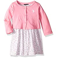 U.S. Polo Assn. Girls' Toddler Dress with Sweater or Jacket, printed Babydoll with cross back aurora pink, 2T